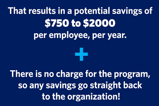 That results in a potential savings of $750 to $2,000 per employee, per year. Plus there is no charge for the program, so any savings go straight back to the organization!